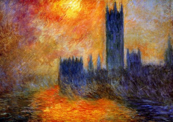 Monet, Claude: The Houses of Parliament, Sunset. Fine Art Print/Poster. Sizes: A4/A3/A2/A1 (00246)